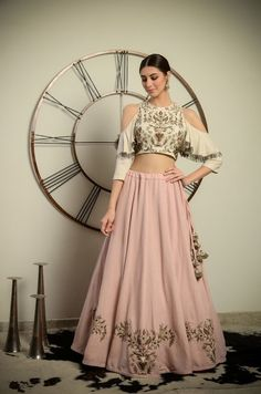 Latest Collection of Lehenga Choli Designs in the gallery. Lehenga Designs from India's Top Online Shopping Sites. Indian Gowns Dresses, Indian Fashion Dresses, Dress Indian Style, Indian Designer Outfits, Girls Fashion Clothes, Indian Skirt And Top, Indian Wedding Dresses, Punjabi Wedding, Girls Dresses