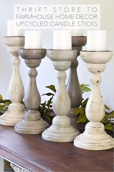 Thrift Store to Farmhouse Home Decor: DIY Upcycled Candle Sticks - The Cottage M. Thrift Store to Farmhouse Home Decor: DIY Upcycled Candle Sticks - The Cottage Market. Easy Home Decor, Decor Crafts, Diy Decor, Cheap Home Decor, Handmade Home Decor, Decor Guide, Home Decor Accessories, Candle Upcycle, Country House Decor