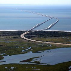 Chesapeake Bay Bridge -Tunnel, Norfolk, Virginia...this sucker is approx 17 miles with two...count them, two, tunnels underwater!