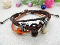 Womens Leather Bracelet  Colorful wood beads and by Richardwu, $4.99