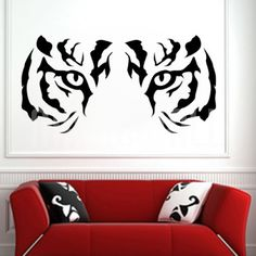 White Tiger Eyes - Wall Decal Sticker Graphic