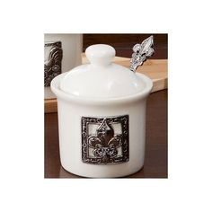 Country Curtains Fleur De Lis Condiment Jar with Spoon featuring polyvore, home, kitchen & dining, serveware, cream pitcher, almond creamer, alabaster jar, sugar creamer and maple syrup jars