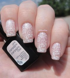 @sensationail Pink Champagne stamped with Pueen Lace Blossom plate using Sinful Color Snow Me White #WeddingWednesday #TeamGelFanatic