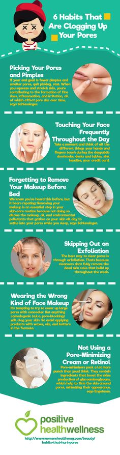 6 Habits that are Clogging Up Your Pores – Positive Health Wellness Infographic