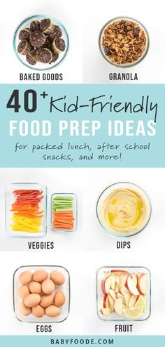 These Kid-Friendly Weekly Food Prep Ideas will give you a ton of ideas on what healthy foods you can prep for your kids on the weekend to prepare for the busy week ahead. Find kid friendly ideas for proteins, fruits, veggies and much more to meal prep Healthy Meals For Kids, Healthy Meal Prep, Kids Meals, Healthy Recipes, Easy Meals, Healthy Breakfast For Kids, Healthy Bedtime Snacks, Easy Snacks For Kids, Healthy School Snacks