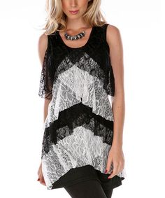 Look what I found on #zulily! Black & White Bias Tiered Ruffle Dress by Lily #zulilyfinds