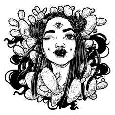 ✨✨ -- Feeling very black and white lately.  #art #drawing #lineart #illustration #blackwoman #blackart #blackandwhite #cacti #cactus