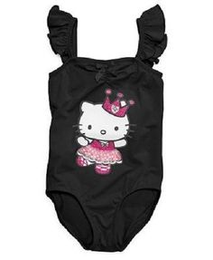 NEW Hello Kitty Little Girls Flutter Sleeve Leotard ~ Black or Pink ~ L or XL