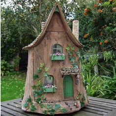 At long last I can post photos of my latest project - Ivy Lodge. It is a fairy tree stump house in scale but is designed to loo. Garden Gnomes For Sale, Small Garden Gnomes, Gnome Garden, Forest Garden, Fairy Tree Houses, Fairy Garden Houses, Gnome House, Fairy Doors, Miniature Fairy Gardens