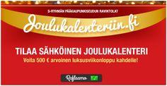 TILAA S-RYHMÄN PÄÄKAUPUNKISEUDUN RAVINTOLOIDEN SÄHKÖINEN JOULUKALENTERI JA VOIT VOITTAA 500 € ARVOISEN LUKSUSVIIKONLOPUN KAHDELLE! Kilpailuaika 22.11.-24.12.2016. http://www.joulukalenteriin.fi