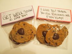 Heart Cookies. Teacher gift. 1) Create chocolate hearts in heart mold.  2) Bake Chocolate chip cookies.  3) Take cookies out of oven and immediately place chocolate hearts in centers.