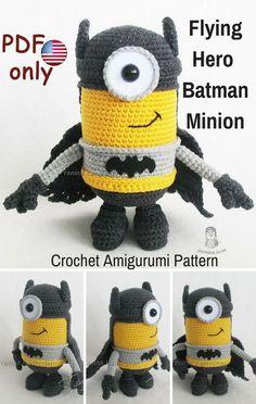 This Flying Hero Batmat Minion is a crocheted amigurumi doll that would love to save the day for you. You can create your own Flying Hero Batman Minion with this downloadable pattern. #crochet #amigurumi #crochetdoll #ad #amigurumidoll #amigurumipattern #batman #minion #instantdownload