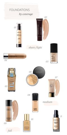 Foundations, sheer to full coverage Best Medium Coverage Foundation, Sheer Foundation, Foundation Brands, No Foundation Makeup, Drugstore Foundation, Small Things Blog, Beauty Care, Beauty Makeup, Hair