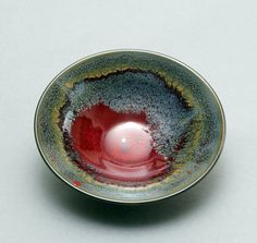 Wheelthrown Porcelain Shallow Bowl with RedGrey and by hsinchuen,