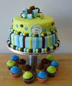 Baby Shower cake and cupcakes by Windy City Cakery