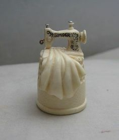 CARVED THIMBLE W/ ANTIQUE SINGER SEWING MACHINE ON TOP FOSSIL BONE ELFRINK OOAK, with movable parts