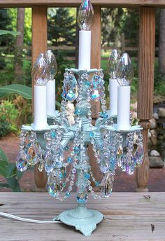 Crystal Candelabra Chandelier Table Lamp...if it was purple or gold
