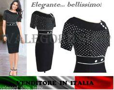 Abito-anni-50-elegante-vintage-vestito-cerimonia-nero-pois-retro-tubino-pinup