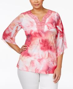 Jm Collection Plus Size Printed Crochet-Neck Blouse, Only at Macy's