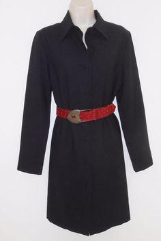 Brooks Brothers 100% Wool 10 M Dress Navy Blue Shirtdress Duster Career Medium #BrooksBrothers #ShirtDress