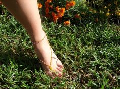 Beaded Barefoot Sandals  Customize color and by FreeLovinThingery