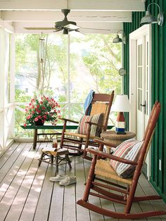 Rocking chairs, screened porch.
