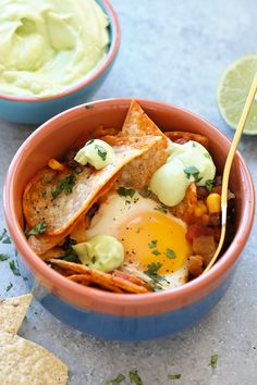 Easy Baked Chilaquiles with Avocado Crema (in 30 minutes!)