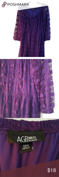 AGB Purple Lace Dress Gorgeous purple lace dress. Sleeves are see through and cinch on ends. 3/4 length sleeves. Stretchy fabric. AGB Dresses Long Sleeve