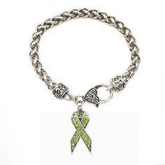 1 Carat Green Awareness Ribbon Bracelet - a sterling silver bracelet Non-Hodgkins Lymphoma Awareness