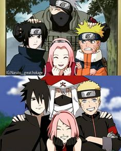Team 7: Kakashi, Sasuke, Sakura & Naruto. Ok, this is the second picture I've seen where that short haircut has not offended my eyes. Seriously, Naruto, longer hair, not shorter.
