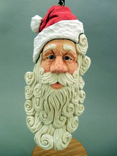 Detailed Hand Carved Wood Santa Ornament by CarvingsbyTony on Etsy, $75.00