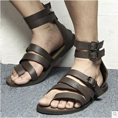 2014 new arrive 2 color men's sandals Roman style sandals Genuine leather shoes free shipping