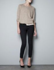 Zara Sequinned Sweater in Beige (camel)