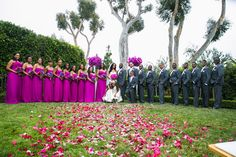 Magenta Bridesmaids and Groomsmen  Photography: Erik Umphery Read More: http://www.insideweddings.com/weddings/a-radiant-orchid-malibu-wedding-with-an-ocean-view/604/