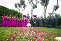 Magenta Bridesmaids and Groomsmen  Photography: Erik Umphery Read More: http://www.insideweddings.com/weddings/a-radiant-orchid-malibu-wedding-with-an-ocean-view/604/