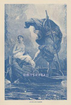 Psyche Charon River Styx Hades Underworld Fairy 1891 Antique Vintage Art Print | eBay