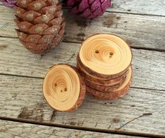 6 Handmade Wood Buttons -  Handmade red pine tree branch buttons with the bark - 1 2/5 inches in diameter., $7