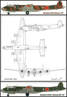 Profile of the Nakajima G5N Shinzan (mountain recess) Japanese Imperial Navy experimental 13-Shi transport aircraft.