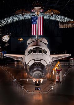 Space shuttle Discovery is the centerpiece of the James S. McDonnell Space Hangar at the National Air and Space Museum's Steven F. Udvar-Hazy Center in Chantilly, VA.