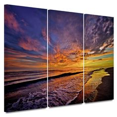 The Sunset' by Antonio Raggio 3 Piece Photographic Print Gallery-Wrapped on Canvas Set