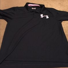 Men's Under Armour Heat gear polo Used, men's Under Armour heat gear Dri fit polo- breast cancer awareness-black Under Armour Tops Tees - Short Sleeve
