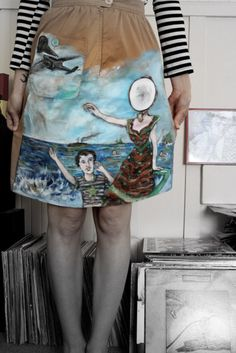 Neutral Milk Hotel: in the aeroplane over the sea - Hand-Painted on a high waist Calvin Klein skirt Neutral Milk Hotel, Best Tan, Chiffon Skirt, Everyday Look, Refashion, Jumpers, Denim Skirt, Calvin Klein, Fashion Outfits