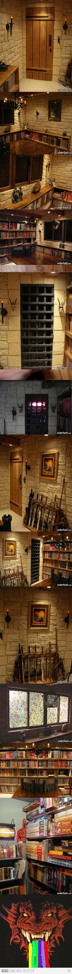 OMG This is the ultimate gaming room! Nerd Room, Nerd Cave, Dungeons And Dragons, Deco Gamer, Medieval, Geek Decor, Reading Room, Reading Games, Interior Exterior