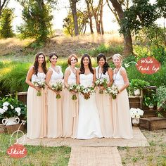 """Bridesmaids In Skirts - Why have I not thought of this before???  Not only would it be inexpensive (can someone say budget, please!) but they would be so much more flattering if your friends have different body shapes.  Plus they are completely reusable by the bridesmaids after the wedding - without screaming """"bridesmaid""""!"""