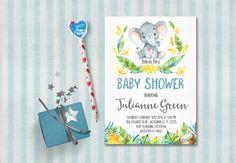 Elephant Baby Shower Invitation Printable Jungle by tranquillina