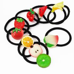 New Summer Style Small Size Fruits Slice Fashion Hair Accessories Girls Kids Women Elastic Hair Bands Rubber Bands Headwear Gum