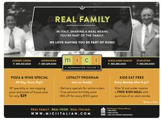 Mici Italian coupon design by Watermark! #watermark #watermarkadvertising #coupon #graphicdesign #marketingdesign #italianfood #italianrestaurant #restaurantpromos #restaurantmarketing #marketing #advertising