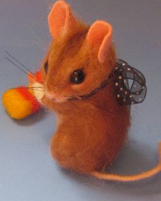 Needle Felted Art by Robin Joy Andreae: June Bug, Owlister & Cookie