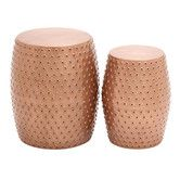 Found it at AllModern - 2 Piece Metal Punched Stool Set