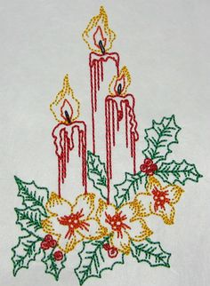 Candles with holly and poinsettia color work machine embroidery Embroidery Applique, Machine Embroidery, Applique Designs, Poinsettia, All Design, Patches, Candles, Artwork, How To Make